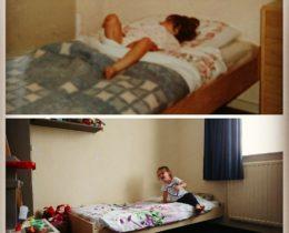 Hetzelfde bed 47jaar later! Ik =) 1970/ Tess =) 2017. Beiden bijna 3jaar
