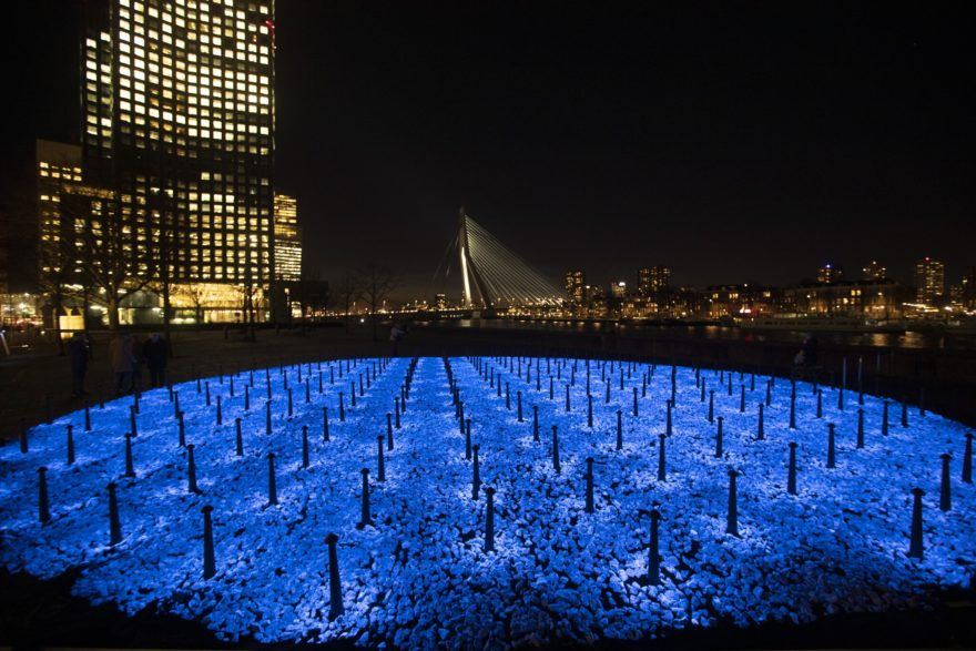 The monument Levenslicht, or Light of Life, by artist Daan Roosegaarde, consisting of 104,000 light-emitting stones for the number of Dutch Holocaust victims is unveiled in Rotterdam, Netherlands, Thursday, Jan. 16, 2020, to mark the 75th anniversary, later this month, of the liberation of Auschwitz concentration and extermination camp. (AP Photo/Peter Dejong)